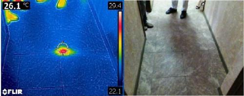 Локализация дефекта электрического кабеля в стяжке пола с помощью высоковольтного разрядника и тепловизора.