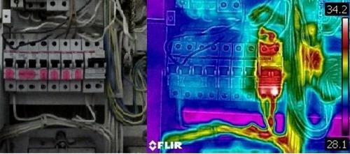 Тепловизионная диагностика электрического щитка , неисправный дифференциальный автомат (УЗО).